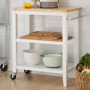 Raabe Kitchen Cart with Wood Top by Andover Mills