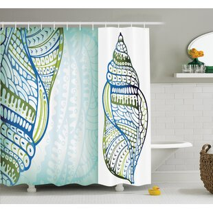 Snail Seashell Shower Curtain + Hooks