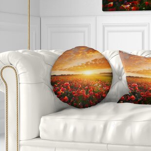 Abstract Beautiful Poppy Field at Sunset Throw Pillow