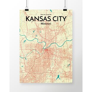 Map of the Country Club District Kansas City, Missouri D4060 Gallery Wrapped Canvas Wall Art Print