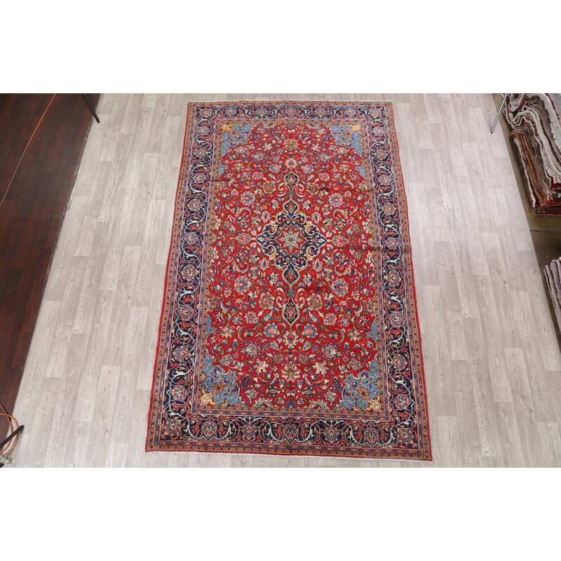 Kashan Hand Knotted Red Blue