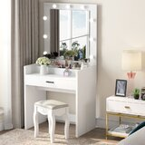 Vanity with Lighted Mirror and Cosmetic Organizer by Latitude Run®