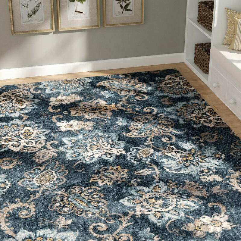 Attirant Russell Navy Blue/Brown Area Rug