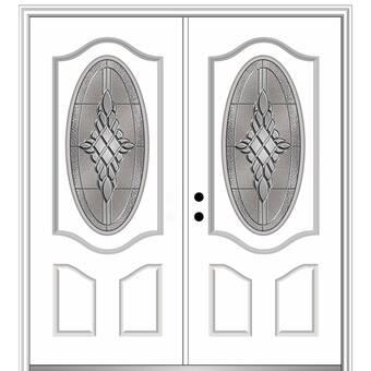 Verona Home Design Grace Primed Fiberglass Prehung Front Entry Door Wayfair