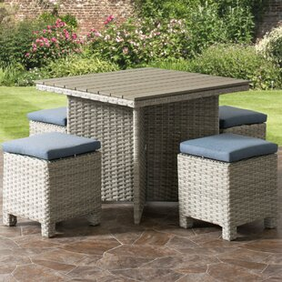 Killingworth Weather Resistant Resin Wicker Patio 5 Piece Dining Set