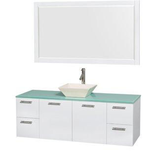 Amare 60 Single White Bathroom Vanity Set with Mirror