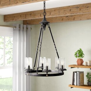 Gracie Oaks Chifdale 6-Light Wagon Wheel Chandelier