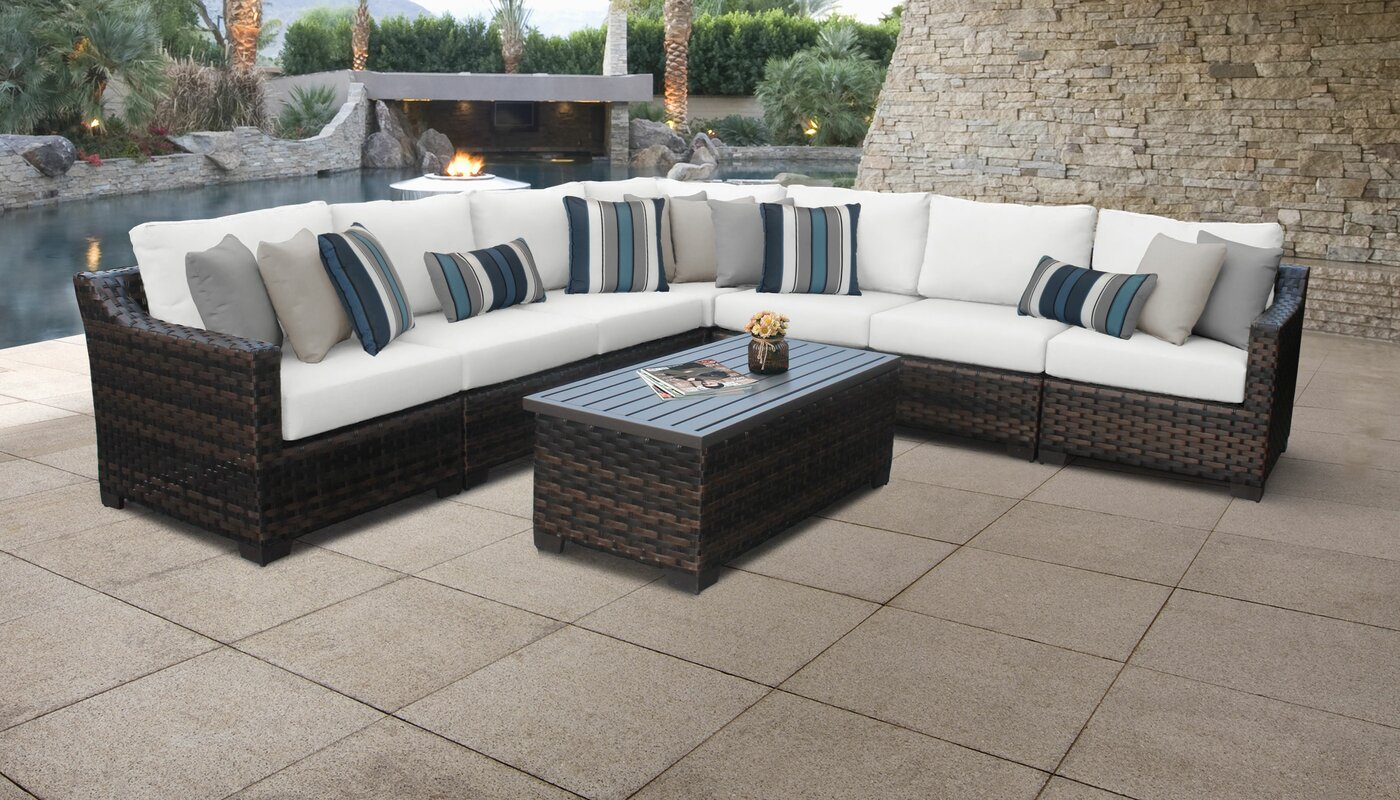kathy ireland Homes & Gardens by TK Classics River Brook Outdoor 8 Piece Rattan Sectional Seating Group with Cushions