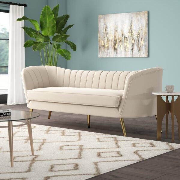 Surprising Cognac Velvet Sofa Wayfair Pabps2019 Chair Design Images Pabps2019Com