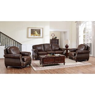 Three Posts Mendenhall Leather 3 Piece Li..