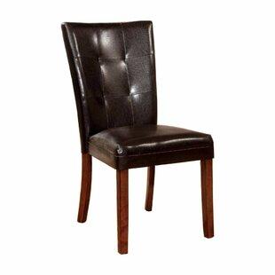Carvajal Leather Upholstered Side Chair in Antique Oak Set of 2