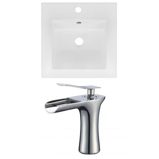 Best Choices 1 Hole Ceramic Square Drop-In Bathroom Sink with Faucet ByAmerican Imaginations
