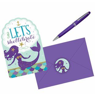 Mermaid Wishes Postcard Invitation Paper Disposable Party Favor (Set of 32)
