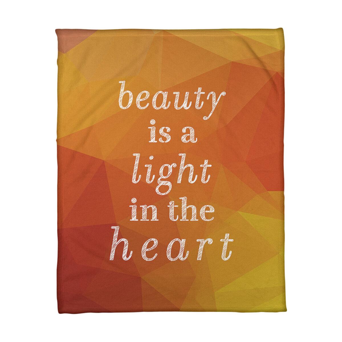 East Urban Home Faux Gemstone Beauty Inspirational Quote Fleece Blanket Wayfair