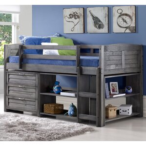 Evan Modern Twin Low Loft Bed with Storage by Harriet Bee