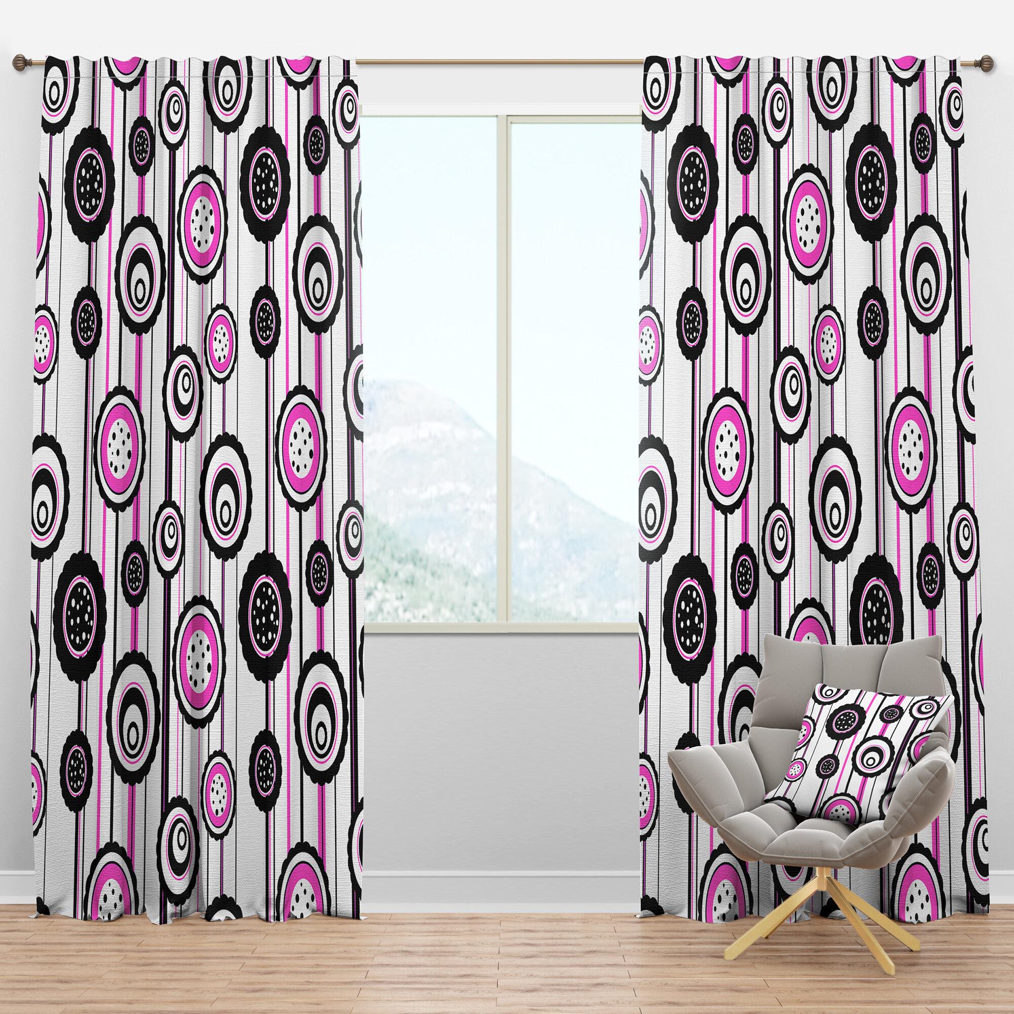 Designart Mid Century Circular Pattern I Geometric Semi Sheer Thermal Rod Pocket Single Curtain Panel Wayfair