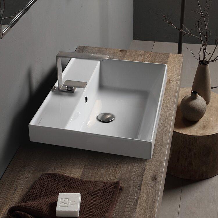 Scarabeo By Nameeks Teorema White Ceramic Rectangular Vessel Bathroom Sink With Overflow Wayfair Ca