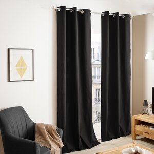 Carnside Foamback Solid Grommet Curtain Panels (Set of 2)