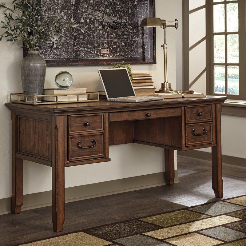 three posts burnes home office computer desk & reviews | wayfair