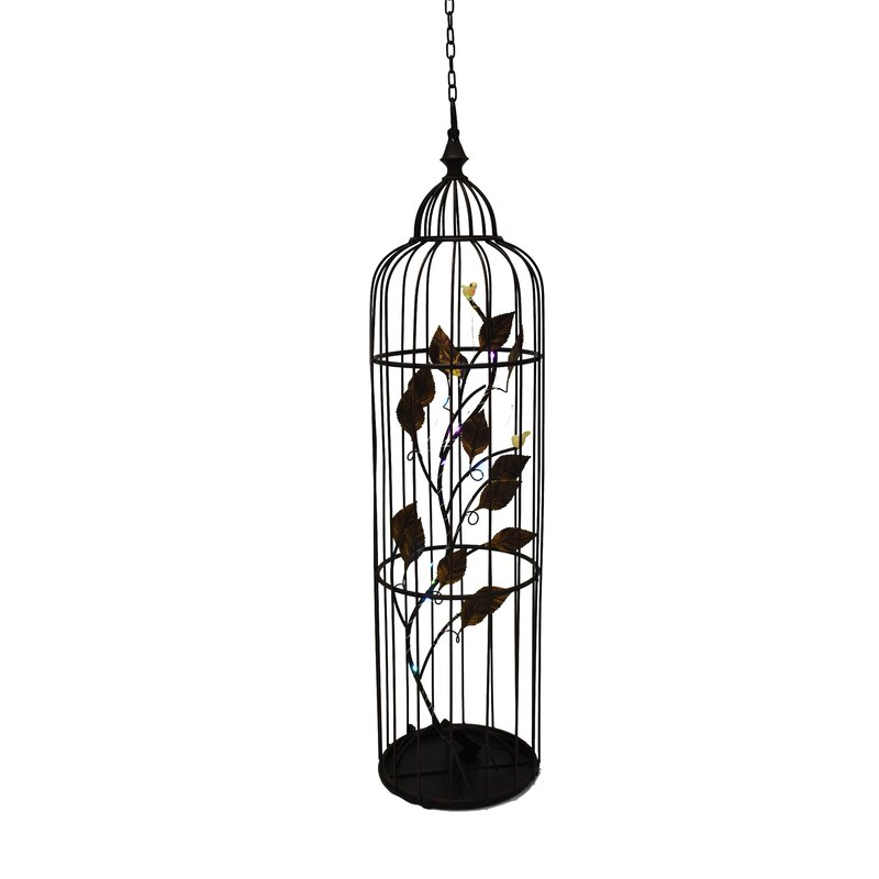 August Grove Sayler Lantern Floral Led Bird Cage Wayfair