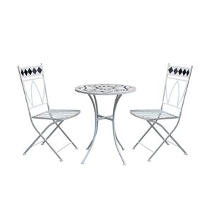 Ophelia & Co. Rachele Patio 3 Piece Metal Bistro Set