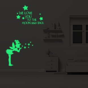 Fairy And Letters Stars Glowing Vinyl Wall Sticker