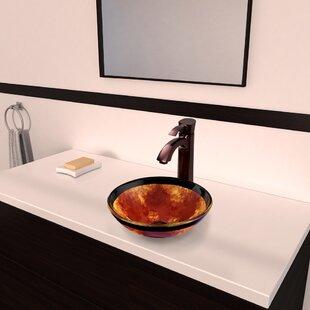 VIGO Fusion Glass Circular Vessel Bathroom Sink with Faucet
