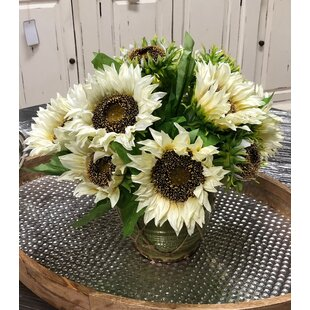 Clustered Sunflowers in Rustic Pot