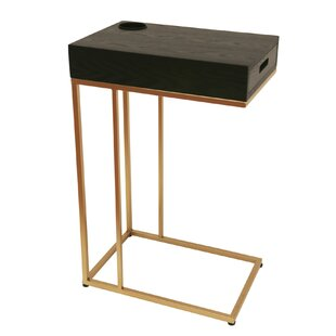 Margery Metal C-Shaped Wooden Chairside End Table Ivy Bronx