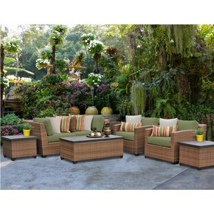 Brayden Studio Asellus 7 Piece Rattan Sectional Set with Cushions