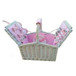 Checked Lined 2 Person Fitted Picnic Basket By Beachcrest Home