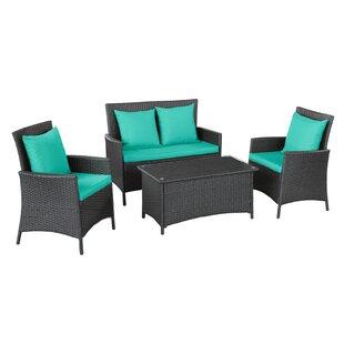 Modway Flourish 4 Piece Rattan Sofa Set with Cushions