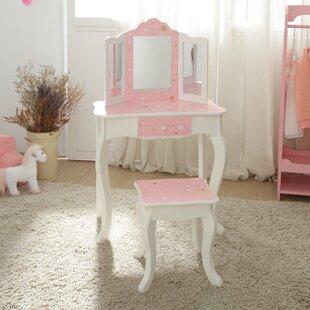 Fashion Twinkle Star Prints Gisele Play Vanity Set with Mirror by Teamson Kids