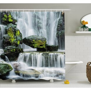 Waterfall Majestic Blocked with Massive Rocks with Moss on Them Shower Curtain Set Ambesonne