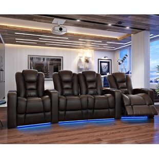 Latitude Run Contemporary Home Theater Row Curved Seating (Row of 4)