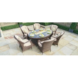 Rosecliff Heights Leppert 7 Piece Dining Set with Firepit