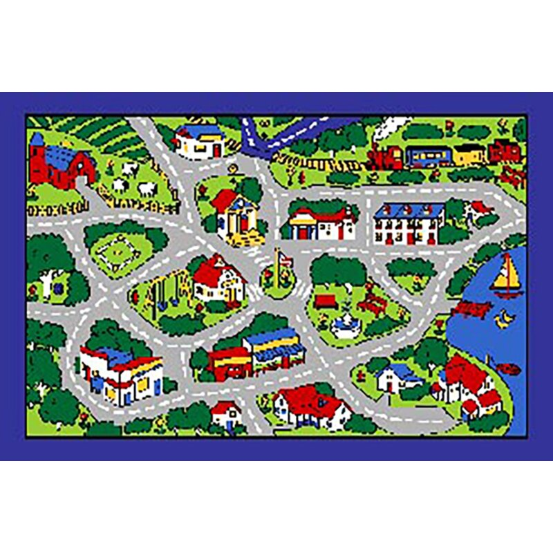 Kids Port Town Street Map Gray Area Rug