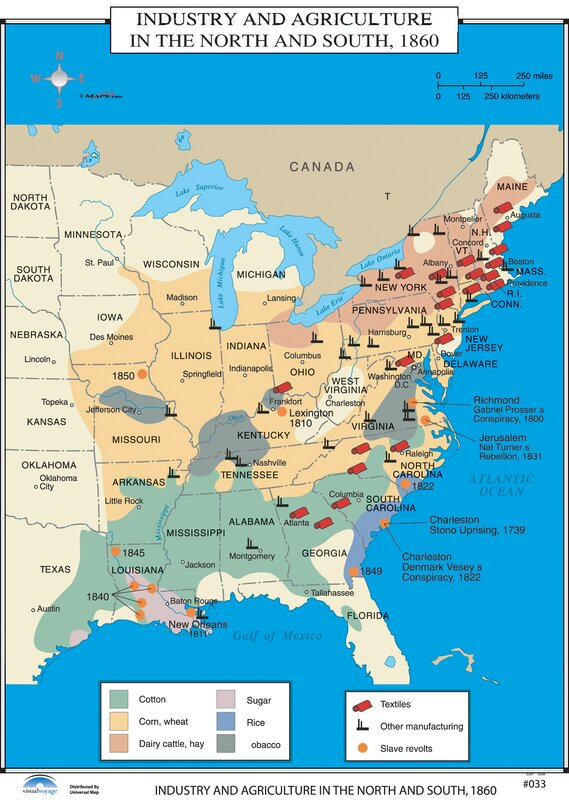 Universal Map US History Wall Maps Industry Agriculture in