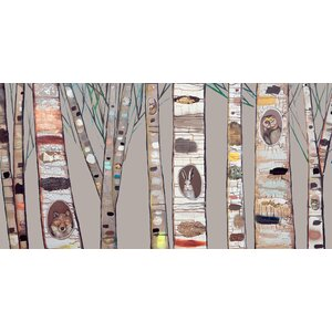 'Birch Trees' by Eli Halpin Painting Print on Canvas in Brown