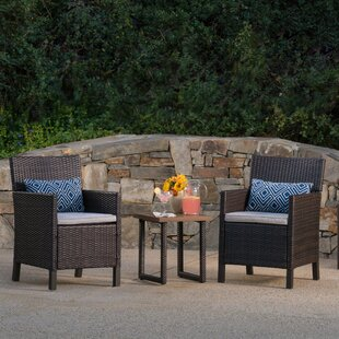 Goldendale 3 Piece Rattan Conversation Set with Cushions