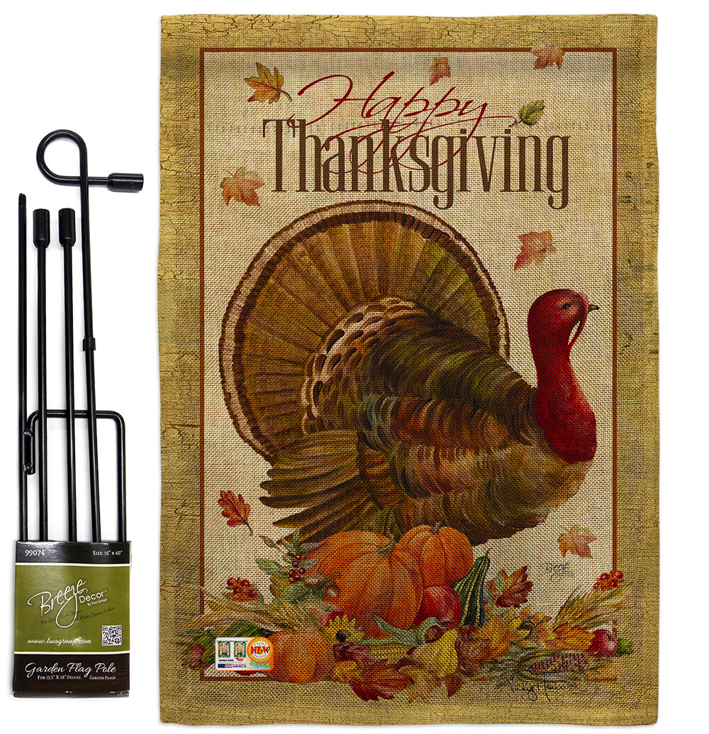 Breeze Decor Thanksgiving Turkey Fall Impressions 2 Sided Polyester 1 6 X 1 1 Ft Flag Set Wayfair