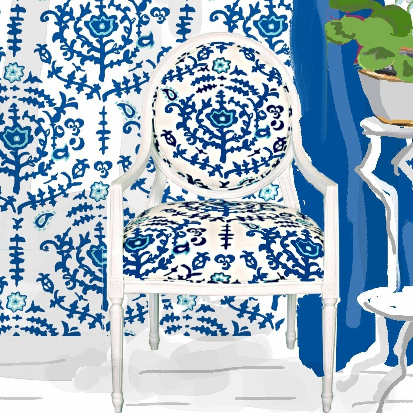 Dana Gibson Linen Upholstered King Louis Back Arm Chair In Spoleto Wayfair