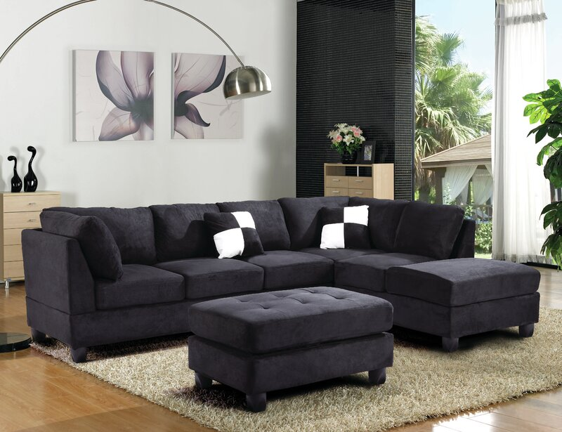 Latitude Run Balazs 111 Faux Leather Reversible Sectional Wayfair