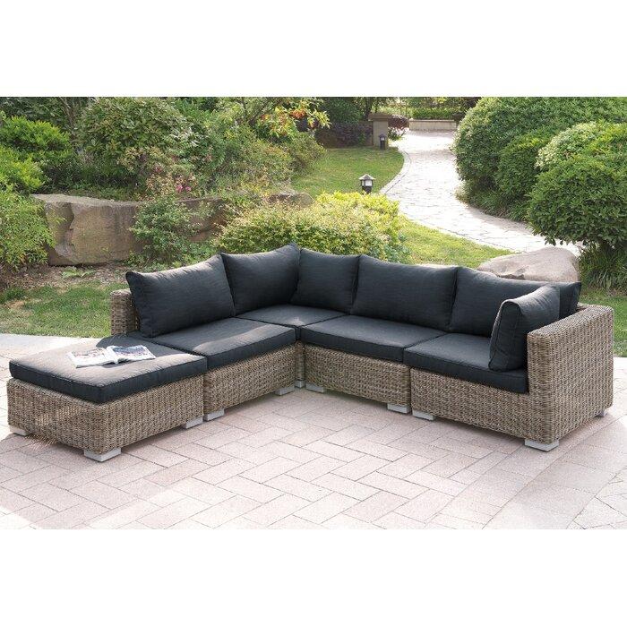 Au0026J Homes Studio Harvey 5 Piece Patio Sectional Set II With Cushions |  Wayfair