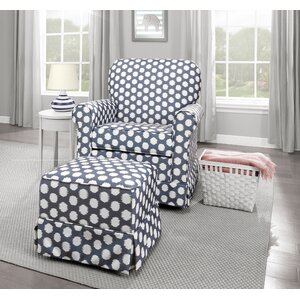Polka Dot Upholstered Swivel Glider