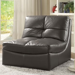 Mountain Leather Convertible Chair by Latitude Run