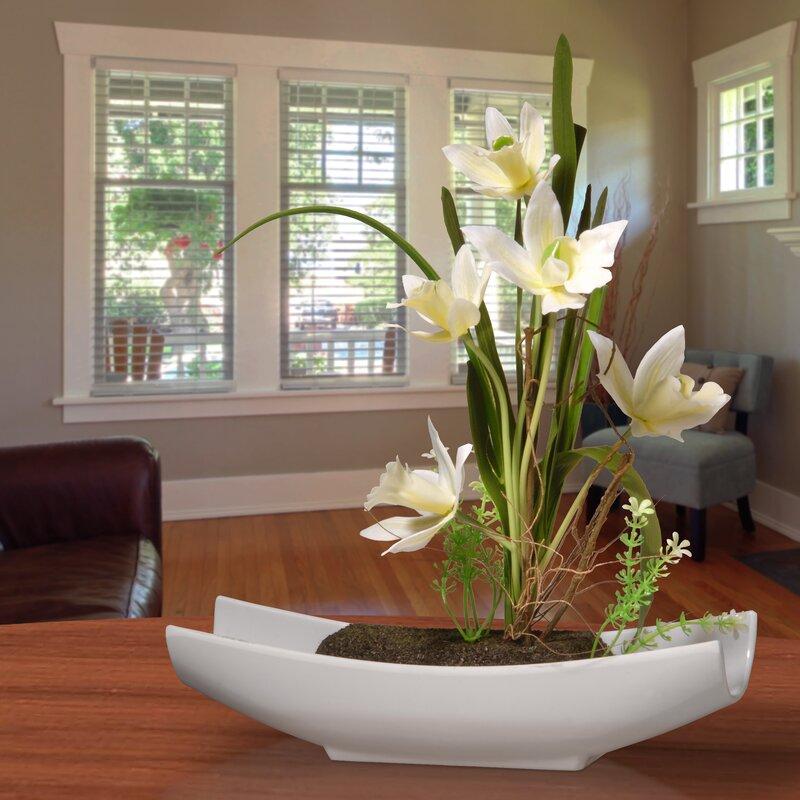 floral home decor orchid floral design wayfair.htm orren ellis orchid floral arrangement in planter   reviews wayfair  orren ellis orchid floral arrangement