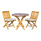 Witte 3 Piece Teak Bistro Set with Sunbrella Cushions