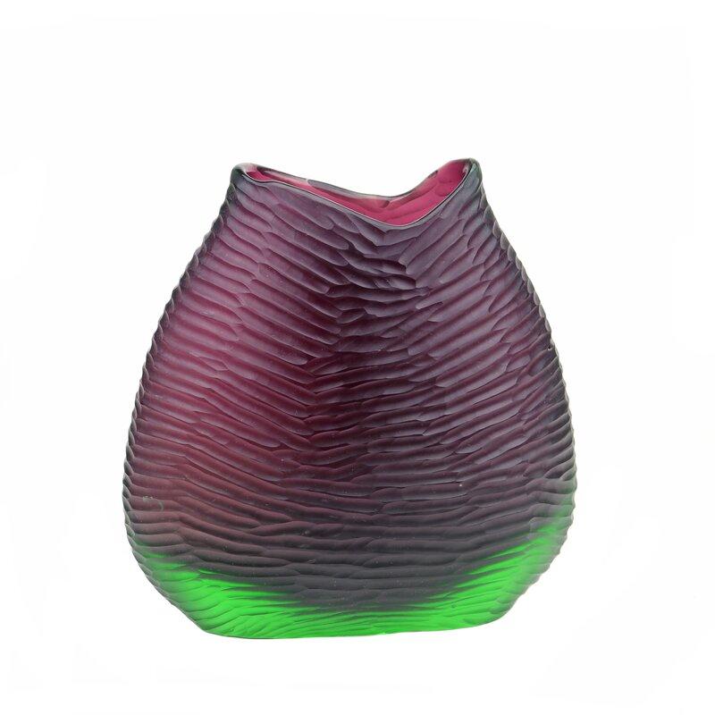 Orren Ellis Barcelone Purple Green 10 5 Glass Table Vase Wayfair