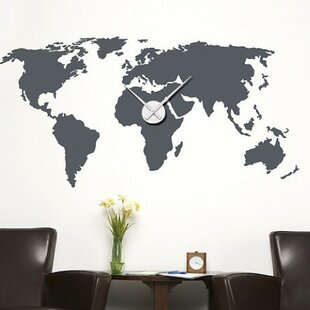 Large world map wall decal wayfair world map wall clock wall decal gumiabroncs